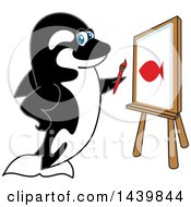 Killer Whale Orca School Mascot Character Painting