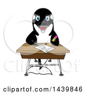 Killer Whale Orca School Mascot Character Student Taking A Quiz