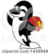 Killer Whale Orca School Mascot Character Wearing A Backpack