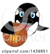 Poster, Art Print Of Killer Whale Orca School Mascot Character Grabbing A Basketball