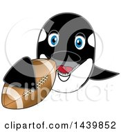 Clipart Of A Killer Whale Orca School Mascot Character Grabbing A Football Royalty Free Vector Illustration
