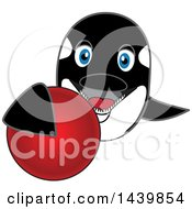 Clipart Of A Killer Whale Orca School Mascot Character Grabbing A Red Ball Royalty Free Vector Illustration