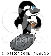 Clipart Of A Killer Whale Orca School Mascot Character Playing Football Royalty Free Vector Illustration by Toons4Biz