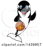 Killer Whale Orca School Mascot Character Playing Basketball