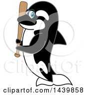 Killer Whale Orca School Mascot Character Holding A Baseball Bat