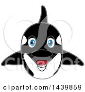 Clipart Of A Killer Whale Orca School Mascot Character Royalty Free Vector Illustration by Toons4Biz