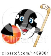 Killer Whale Orca School Mascot Character Grabbing A Field Hockey Ball And Holding A Stick