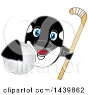Killer Whale Orca School Mascot Character Grabbing A Hockey Ball And Holding A Stick