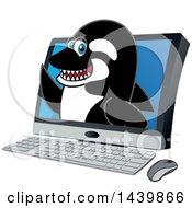 Clipart Of A Killer Whale Orca School Mascot Character Emerging From A Computer Screen Royalty Free Vector Illustration by Toons4Biz