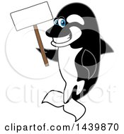 Killer Whale Orca School Mascot Character Holding A Blank Sign