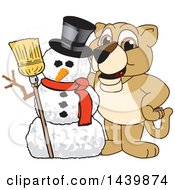 Clipart Of A Lion Cub School Mascot Character With A Snowman Royalty Free Vector Illustration