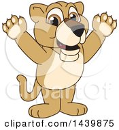Clipart Of A Lion Cub School Mascot Character Cheering Royalty Free Vector Illustration