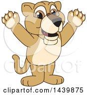 Lion Cub School Mascot Character Cheering