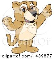 Lion Cub School Mascot Character Holding Up A Finger