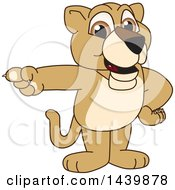 Lion Cub School Mascot Character Pointing