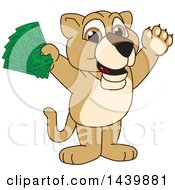 Lion Cub School Mascot Character Holding Cash Money