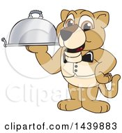 Lion Cub School Mascot Character Waiter Holding A Cloche Platter