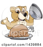 Lion Cub School Mascot Character Serving A Roasted Thanksgiving Turkey