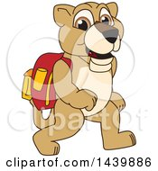 Lion Cub School Mascot Character Wearing A Backpack