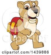 Lion Cub School Mascot Character Wearing A Backpack