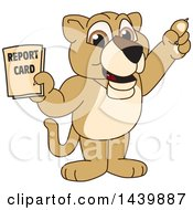 Clipart Of A Lion Cub School Mascot Character Holding A Report Card Royalty Free Vector Illustration