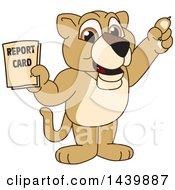 Lion Cub School Mascot Character Holding A Report Card