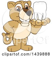 Lion Cub School Mascot Character Holding A Tooth