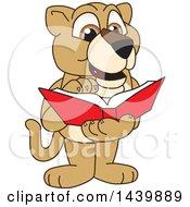 Lion Cub School Mascot Character Reading A Book