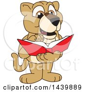 Lion Cub School Mascot Character Reading A Book