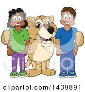 Clipart Of A Lion Cub School Mascot Character With Happy Students Royalty Free Vector Illustration