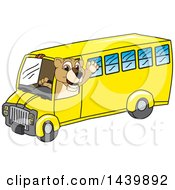 Clipart Of A Lion Cub School Mascot Character Driving A School Bus Royalty Free Vector Illustration