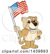 Lion Cub School Mascot Character Waving An American Flag
