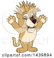 Poster, Art Print Of Lion Cub School Mascot Character With A Mohawk