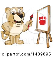Clipart Of A Lion Cub School Mascot Character Painting Royalty Free Vector Illustration
