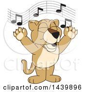 Clipart Of A Lion Cub School Mascot Character Singing Royalty Free Vector Illustration