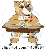 Lion Cub School Mascot Character Taking A Quiz