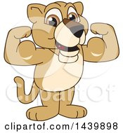Poster, Art Print Of Lion Cub School Mascot Character Flexing