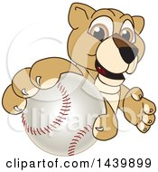Clipart Of A Lion Cub School Mascot Character Grabbing A Baseball Royalty Free Vector Illustration