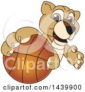Lion Cub School Mascot Character Grabbing A Basketball