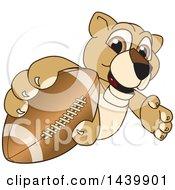 Lion Cub School Mascot Character Grabbing A Football