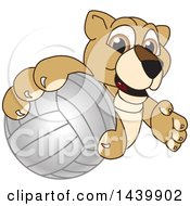 Poster, Art Print Of Lion Cub School Mascot Character Grabbing A Volleyball