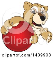 Poster, Art Print Of Lion Cub School Mascot Character Grabbing A Red Ball