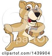 Lion Cub School Mascot Character Playing Football