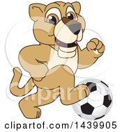 Lion Cub School Mascot Character Playing Soccer