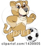 Lion Cub School Mascot Character Playing Soccer