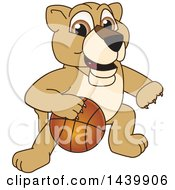 Lion Cub School Mascot Character Playing Basketball