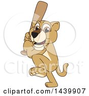 Lion Cub School Mascot Character Swinging A Baseball Bat