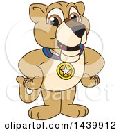 Lion Cub School Mascot Character Wearing A Sports Medal