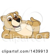 Clipart Of A Lion Cub School Mascot Character Resting On His Side Royalty Free Vector Illustration