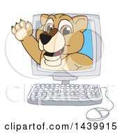 Clipart Of A Lion Cub School Mascot Character Emerging From A Computer Screen Royalty Free Vector Illustration